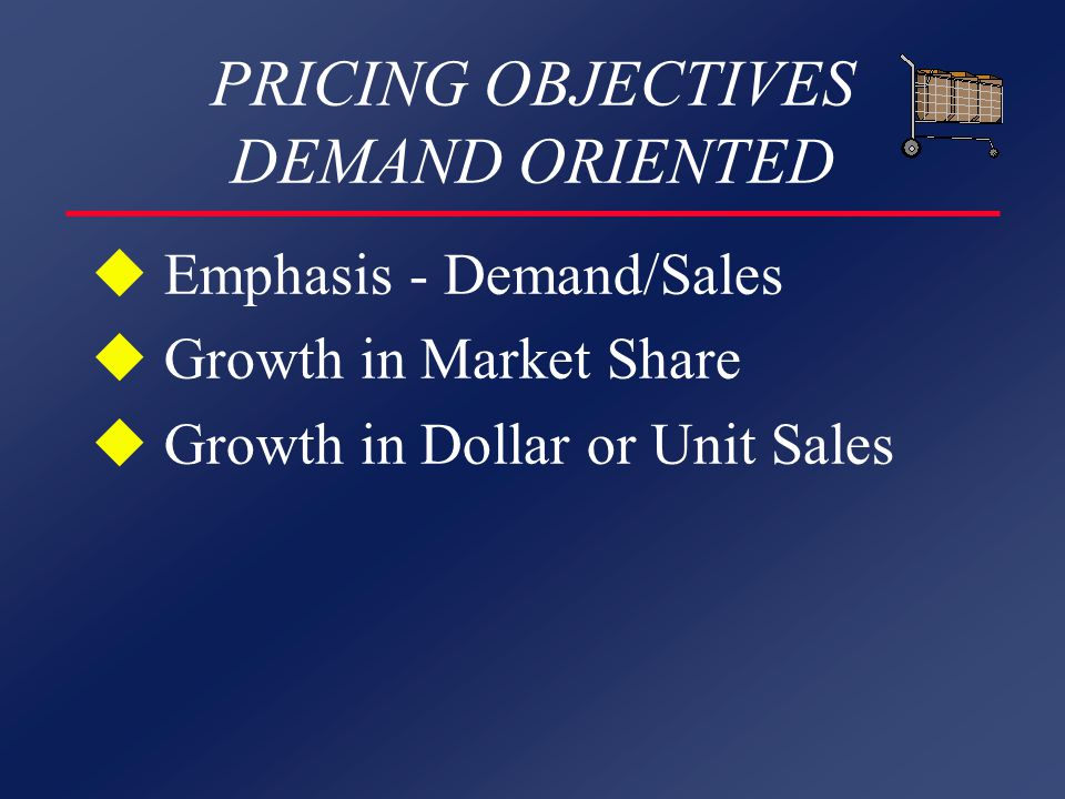 PRICING OBJECTIVES DEMAND ORIENTED u Emphasis - Demand/Sales u Growth in Market Share u Growth in Dollar or Unit Sales