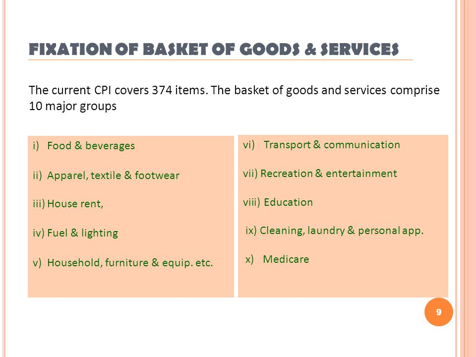 9 FIXATION OF BASKET OF GOODS & SERVICES i) Food & beverages ii) Apparel, textile & footwear iii) House rent, iv) Fuel & lighting v) Household, furnit