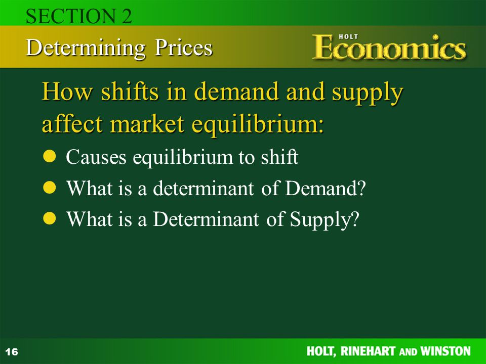 16 How shifts in demand and supply affect market equilibrium: Causes equilibrium to shift What is a determinant of Demand? What is a Determinant of Su