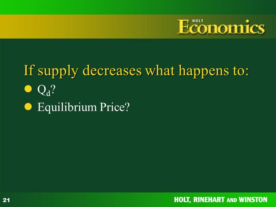 21 If supply decreases what happens to: Q d ? Equilibrium Price?