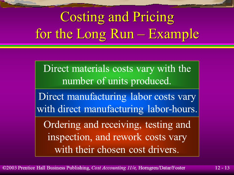 12 - 13 ©2003 Prentice Hall Business Publishing, Cost Accounting 11/e, Horngren/Datar/Foster Costing and Pricing for the Long Run – Example Direct mat
