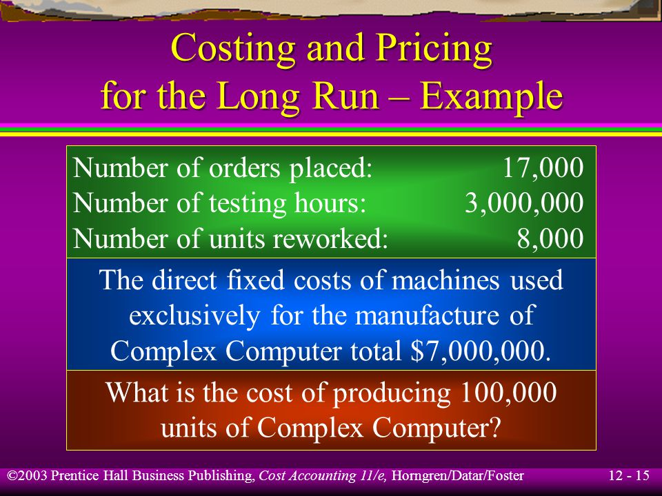 12 - 15 ©2003 Prentice Hall Business Publishing, Cost Accounting 11/e, Horngren/Datar/Foster Costing and Pricing for the Long Run – Example Number of