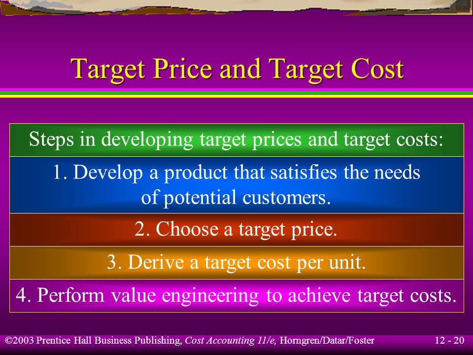 12 - 20 ©2003 Prentice Hall Business Publishing, Cost Accounting 11/e, Horngren/Datar/Foster Target Price and Target Cost Steps in developing target p