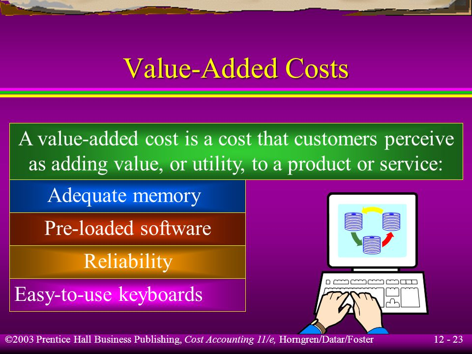 12 - 23 ©2003 Prentice Hall Business Publishing, Cost Accounting 11/e, Horngren/Datar/Foster Value-Added Costs A value-added cost is a cost that custo