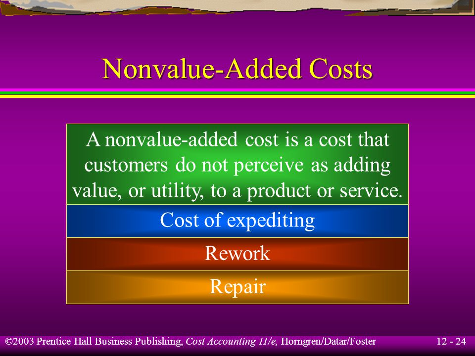 12 - 24 ©2003 Prentice Hall Business Publishing, Cost Accounting 11/e, Horngren/Datar/Foster Nonvalue-Added Costs A nonvalue-added cost is a cost that
