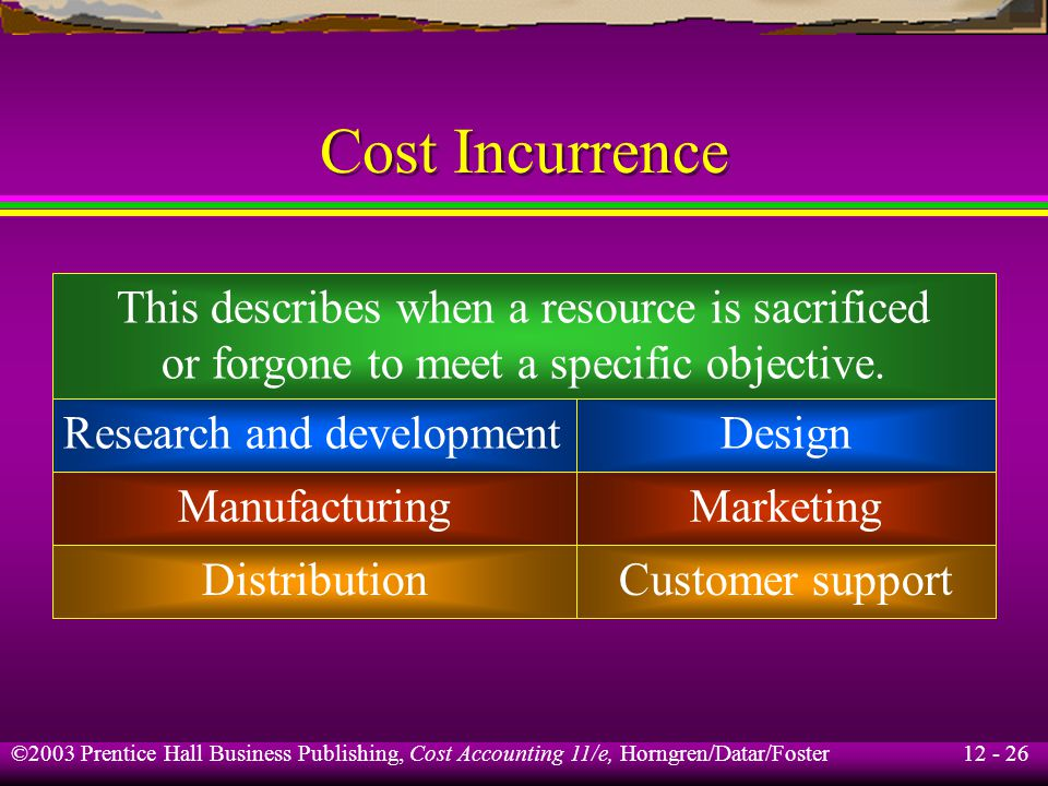 12 - 26 ©2003 Prentice Hall Business Publishing, Cost Accounting 11/e, Horngren/Datar/Foster Cost Incurrence This describes when a resource is sacrifi