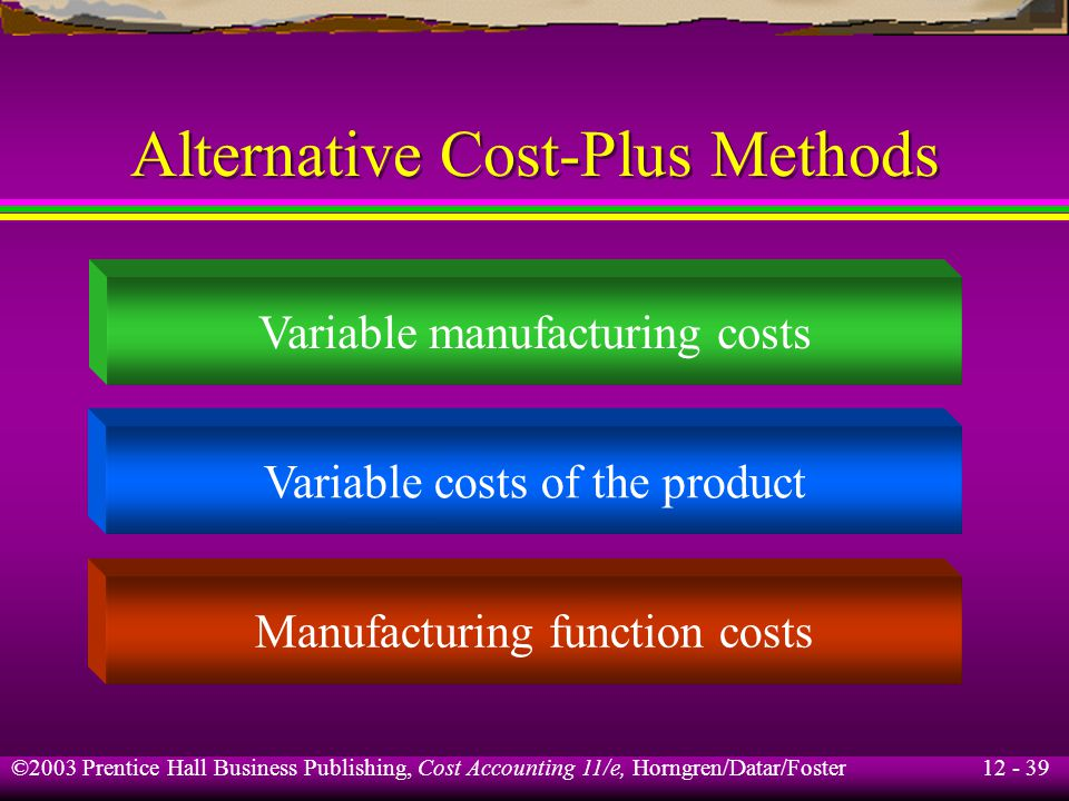 12 - 39 ©2003 Prentice Hall Business Publishing, Cost Accounting 11/e, Horngren/Datar/Foster Alternative Cost-Plus Methods Variable manufacturing cost