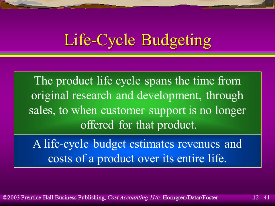 12 - 41 ©2003 Prentice Hall Business Publishing, Cost Accounting 11/e, Horngren/Datar/Foster Life-Cycle Budgeting The product life cycle spans the tim