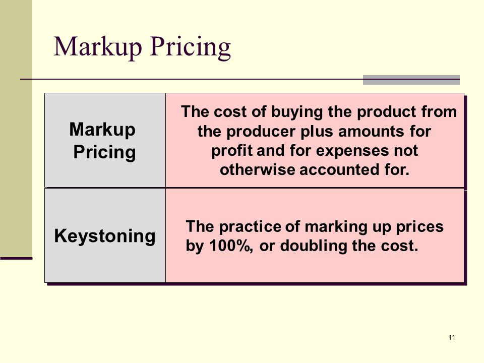 11 Markup Pricing Markup Pricing Markup Pricing The cost of buying the product from the producer plus amounts for profit and for expenses not otherwis