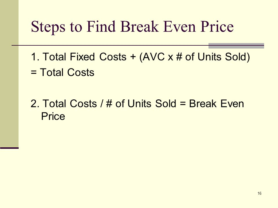 16 Steps to Find Break Even Price 1. Total Fixed Costs + (AVC x # of Units Sold) = Total Costs 2. Total Costs / # of Units Sold = Break Even Price