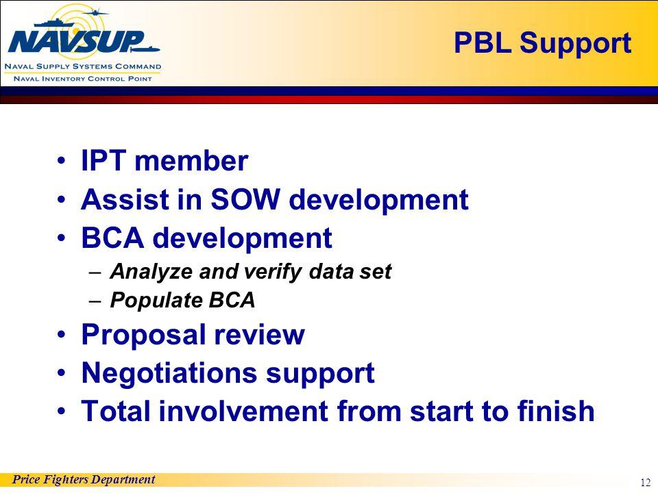 Price Fighters Department 12 IPT member Assist in SOW development BCA development –Analyze and verify data set –Populate BCA Proposal review Negotiati