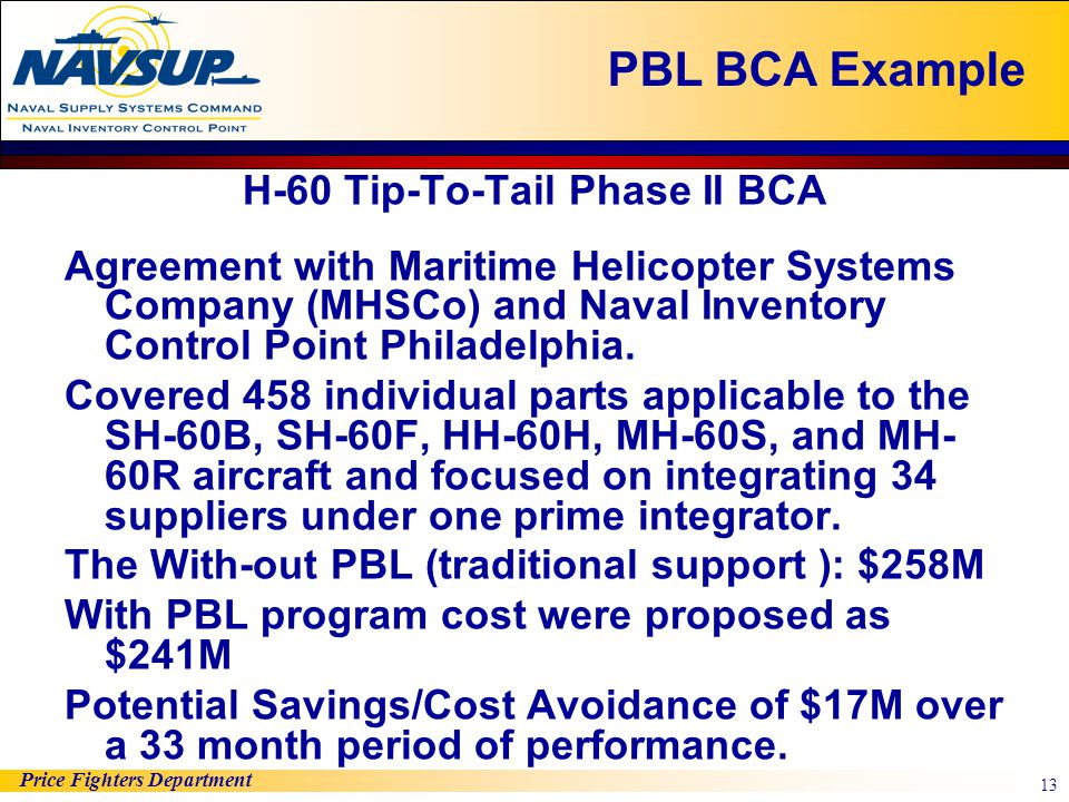 Price Fighters Department 13 H-60 Tip-To-Tail Phase II BCA Agreement with Maritime Helicopter Systems Company (MHSCo) and Naval Inventory Control Poin