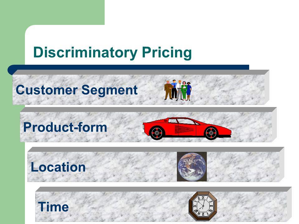 Discriminatory Pricing TimeProduct-formCustomer SegmentLocation