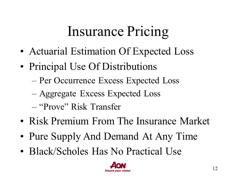 12 Insurance Pricing Actuarial Estimation Of Expected Loss Principal Use Of Distributions –Per Occurrence Excess Expected Loss –Aggregate Excess Expected Loss –Prove Risk Transfer Risk Premium From The Insurance Market Pure Supply And Demand At Any Time Black/Scholes Has No Practical Use