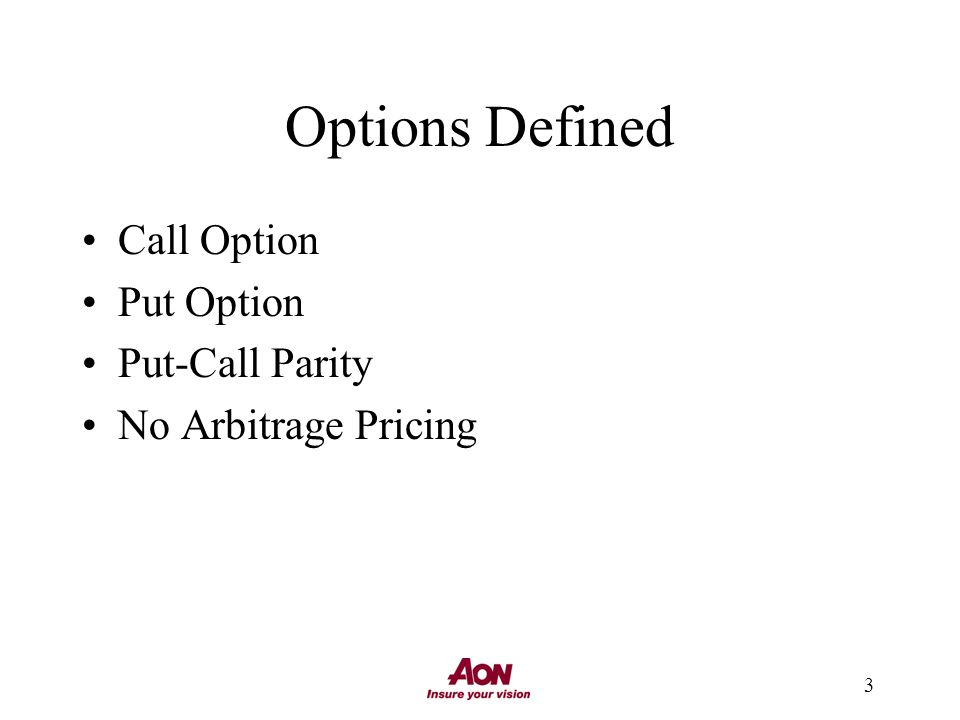 3 Options Defined Call Option Put Option Put-Call Parity No Arbitrage Pricing