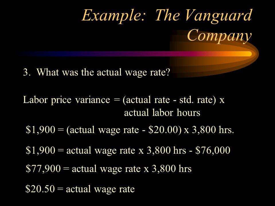 Example: The Vanguard Company 4.What was the budget for fixed indirect costs.