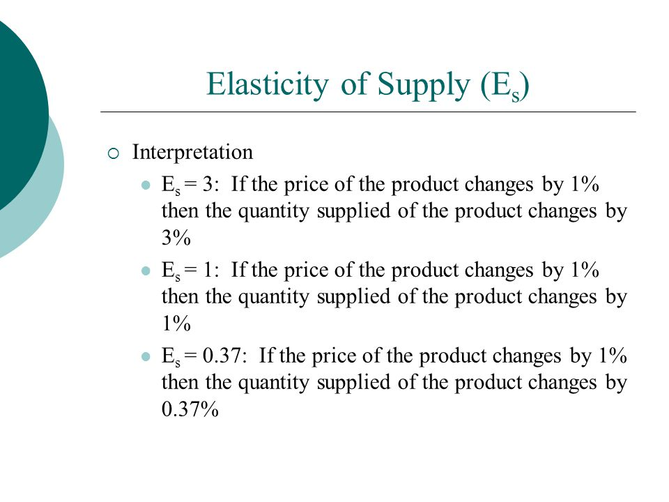 Elasticity of Supply (E s ) Interpretation E s = 3: If the price of the product changes by 1% then the quantity supplied of the product changes by 3% E s = 1: If the price of the product changes by 1% then the quantity supplied of the product changes by 1% E s = 0.37: If the price of the product changes by 1% then the quantity supplied of the product changes by 0.37%