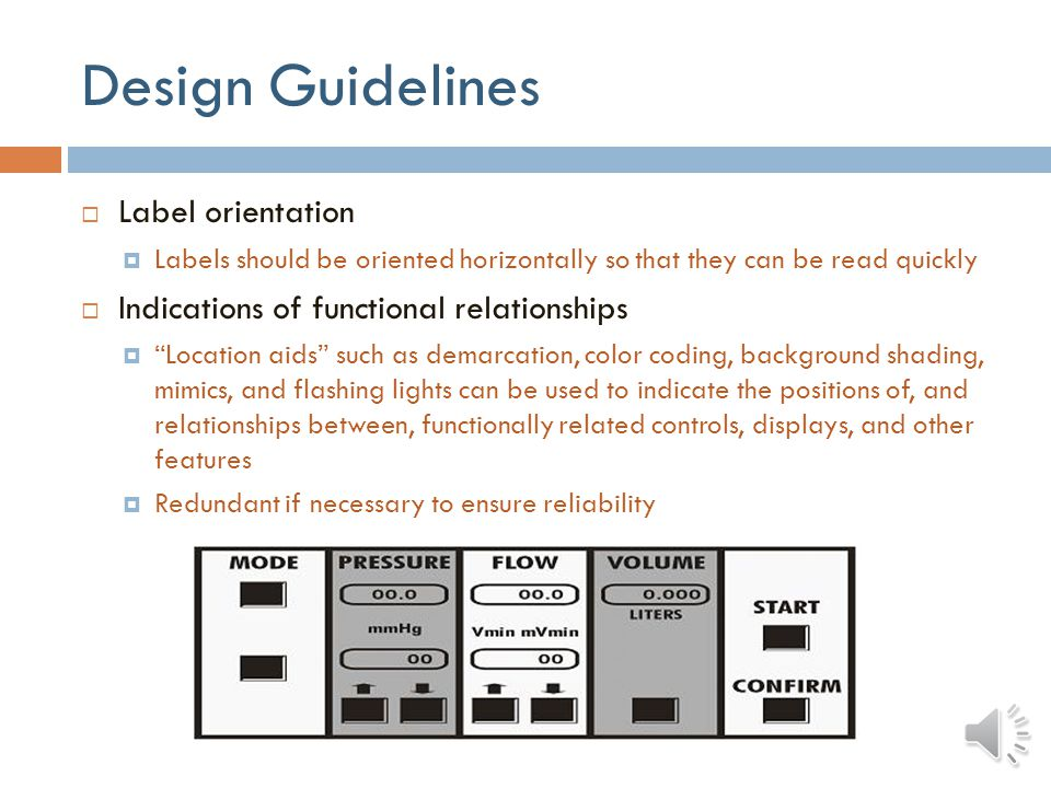 Design Guidelines Labels on controls, keyboards, and keypads Intended to facilitate identifying, locating, and functionally grouping user display and