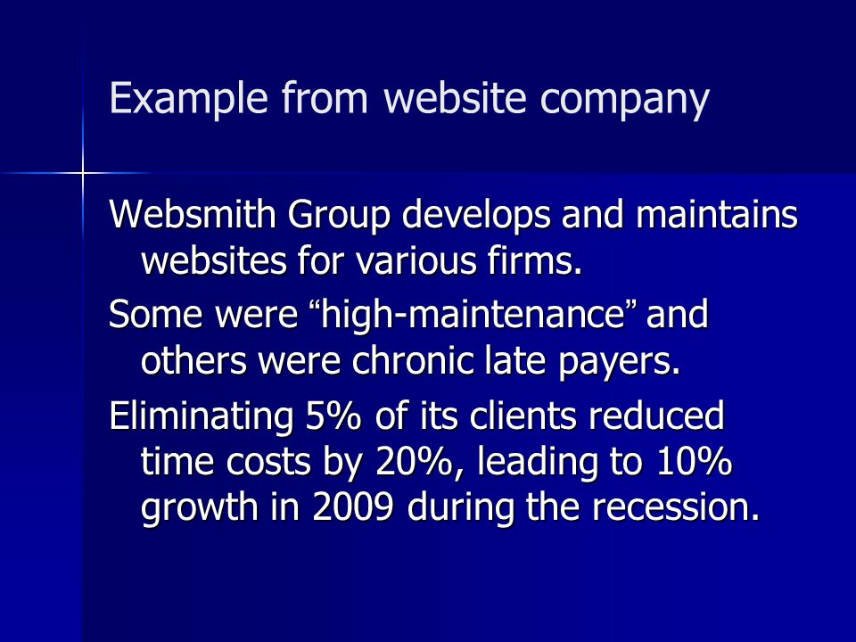 Example from website company Websmith Group develops and maintains websites for various firms.