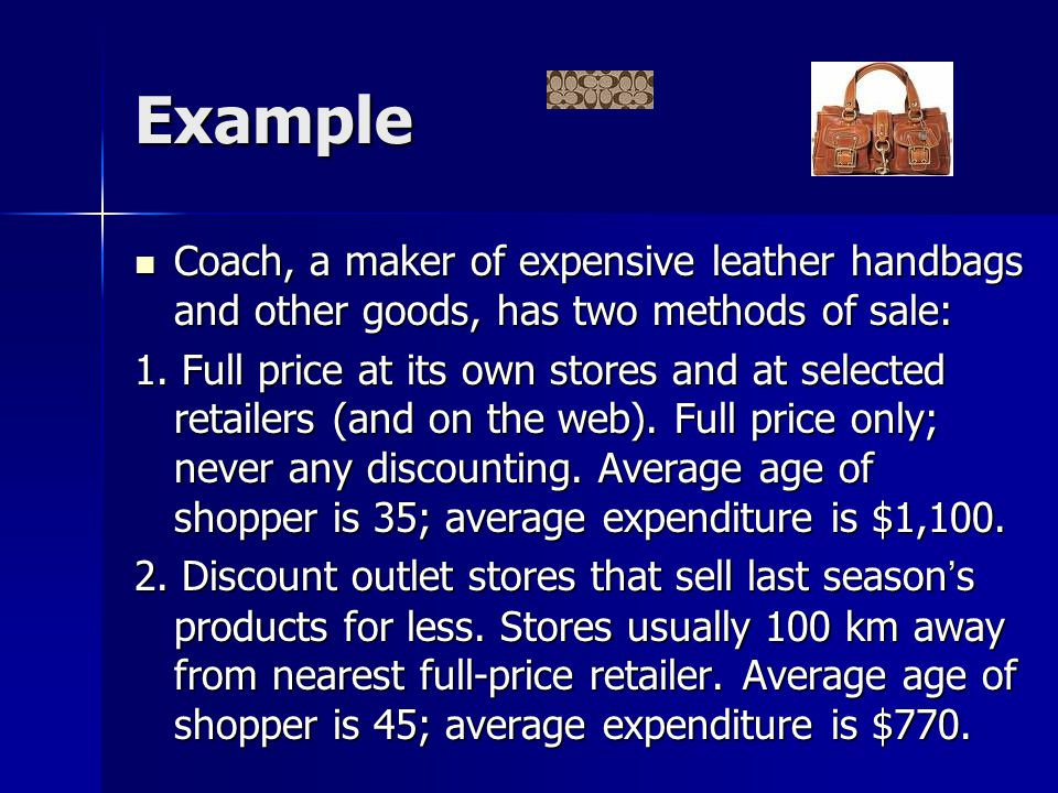Example Coach, a maker of expensive leather handbags and other goods, has two methods of sale: Coach, a maker of expensive leather handbags and other goods, has two methods of sale: 1.