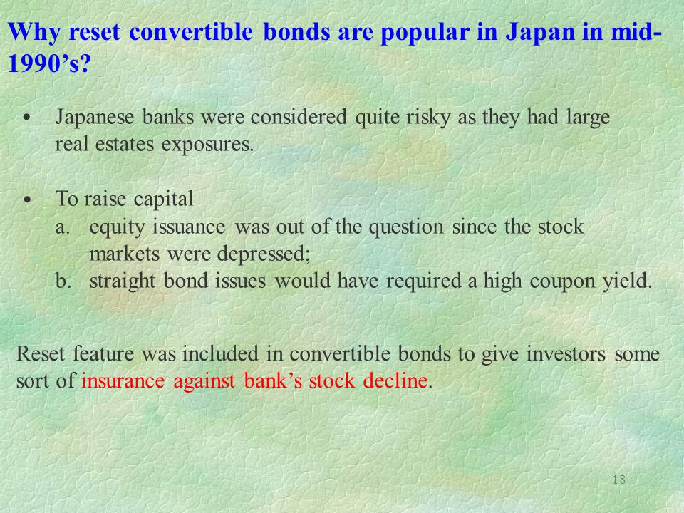 18 Why reset convertible bonds are popular in Japan in mid- 1990s.