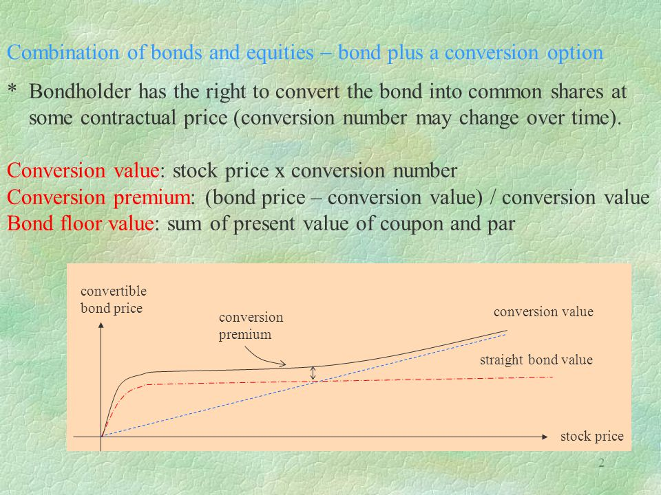2 Combination of bonds and equities bond plus a conversion option * Bondholder has the right to convert the bond into common shares at some contractual price (conversion number may change over time).