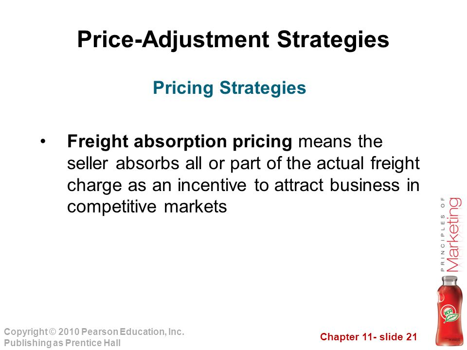 Chapter 11- slide 21 Copyright © 2010 Pearson Education, Inc. Publishing as Prentice Hall Price-Adjustment Strategies Freight absorption pricing means