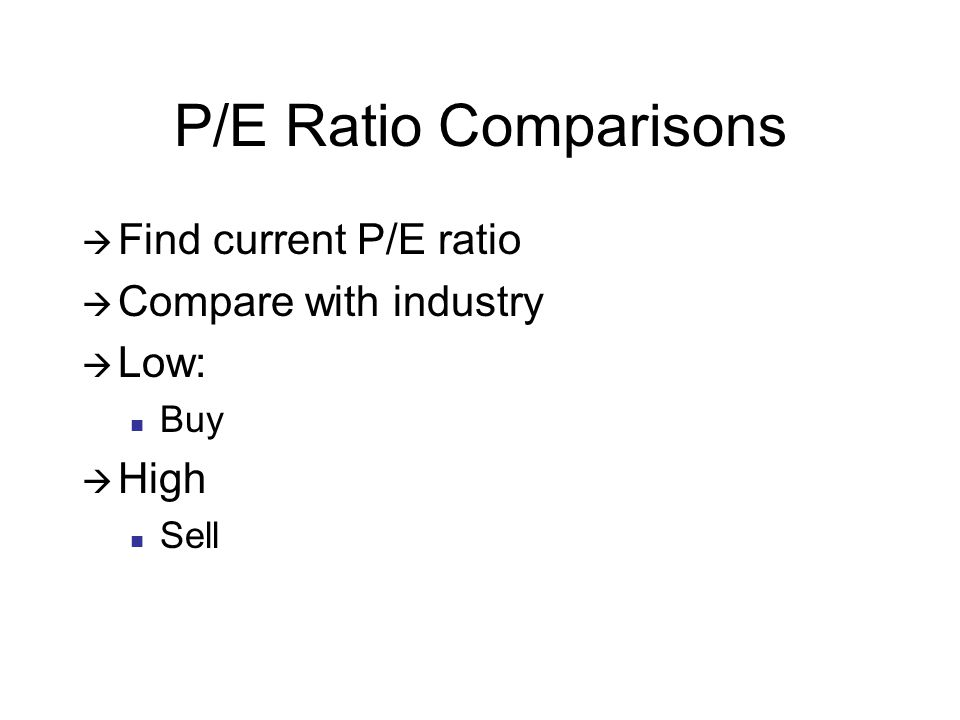 P/E Ratio Comparisons Find current P/E ratio Compare with industry Low: Buy High Sell