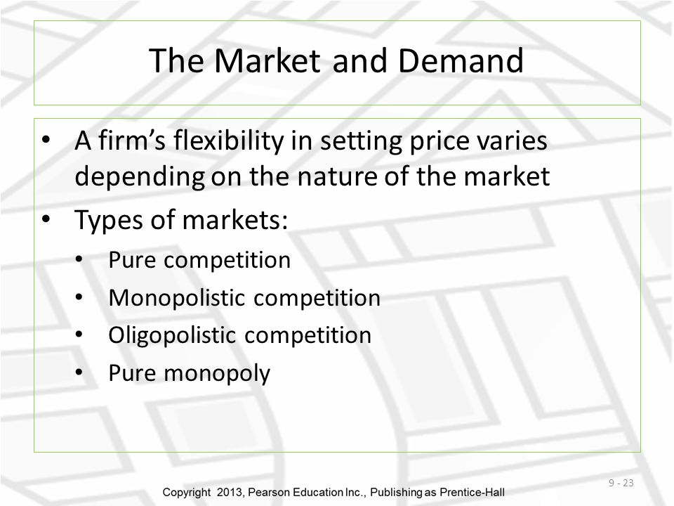 The Market and Demand A firms flexibility in setting price varies depending on the nature of the market Types of markets: Pure competition Monopolistic competition Oligopolistic competition Pure monopoly 9 - 23