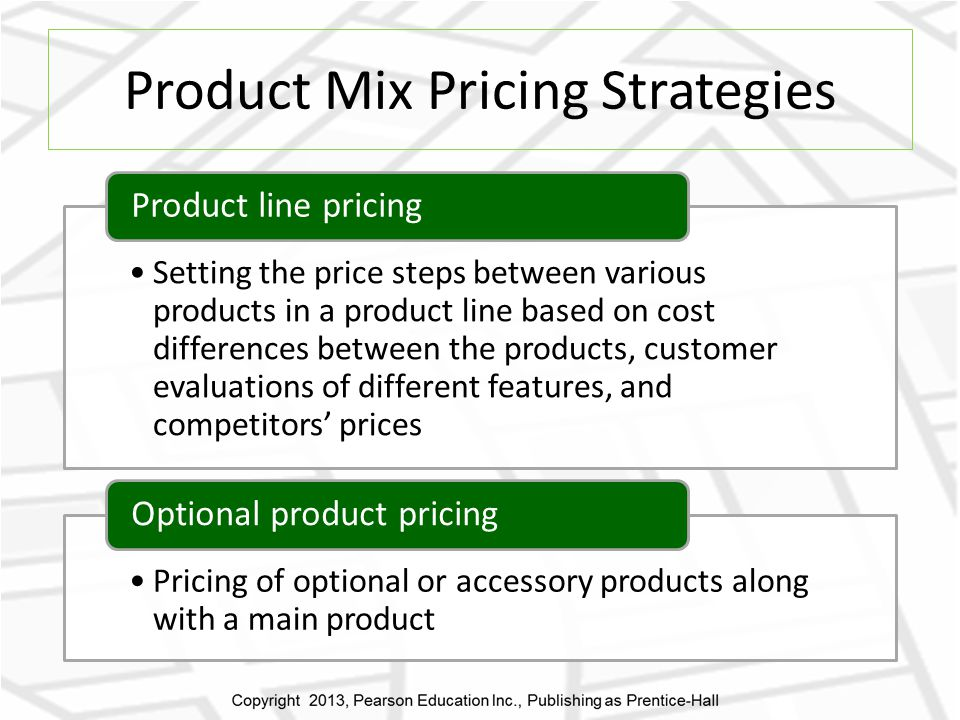 Product Mix Pricing Strategies Setting the price steps between various products in a product line based on cost differences between the products, customer evaluations of different features, and competitors prices Product line pricing Pricing of optional or accessory products along with a main product Optional product pricing