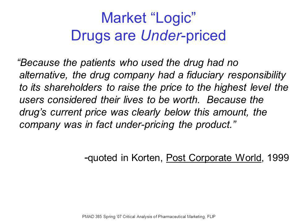 PMAD 385 Spring 07 Critical Analysis of Pharmaceutical Marketing, FLIP Market Logic Drugs are Under-priced Because the patients who used the drug had no alternative, the drug company had a fiduciary responsibility to its shareholders to raise the price to the highest level the users considered their lives to be worth.
