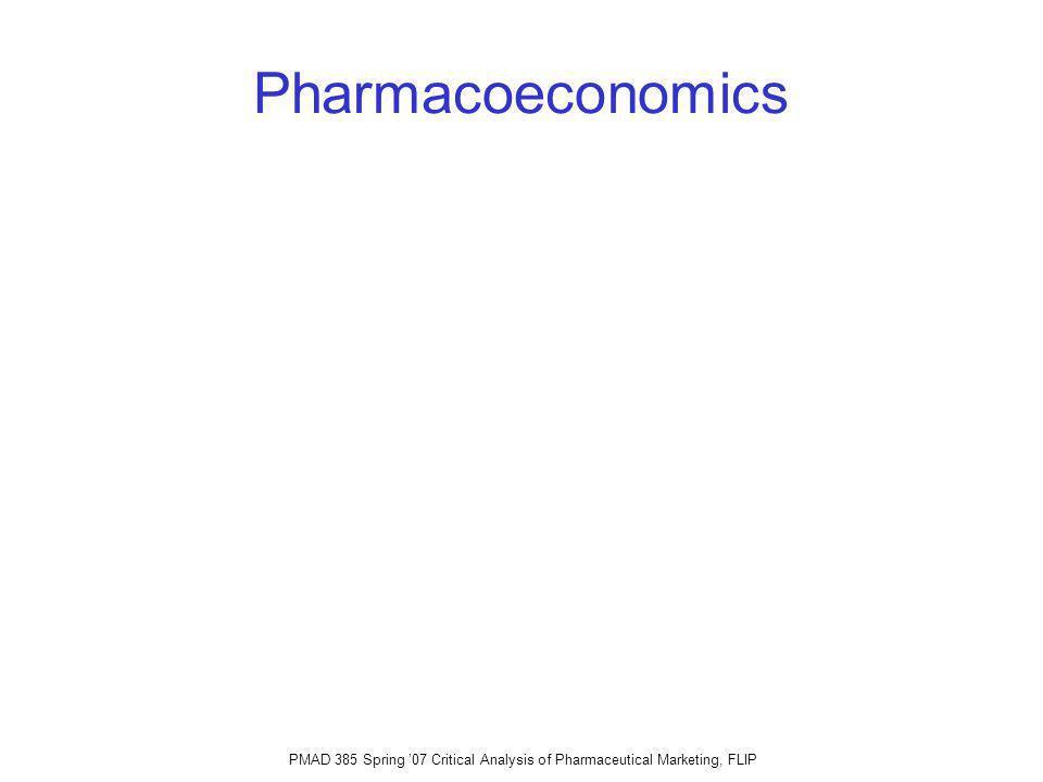 PMAD 385 Spring 07 Critical Analysis of Pharmaceutical Marketing, FLIP Pharmacoeconomics