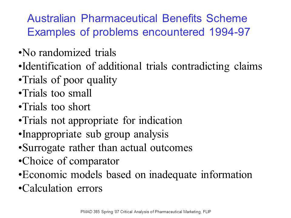 PMAD 385 Spring 07 Critical Analysis of Pharmaceutical Marketing, FLIP No randomized trials Identification of additional trials contradicting claims Trials of poor quality Trials too small Trials too short Trials not appropriate for indication Inappropriate sub group analysis Surrogate rather than actual outcomes Choice of comparator Economic models based on inadequate information Calculation errors Australian Pharmaceutical Benefits Scheme Examples of problems encountered 1994-97