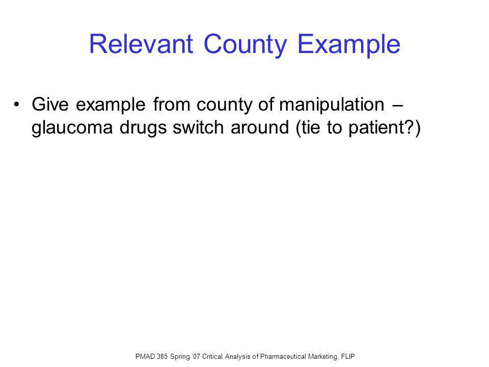 Relevant County Example Give example from county of manipulation – glaucoma drugs switch around (tie to patient )