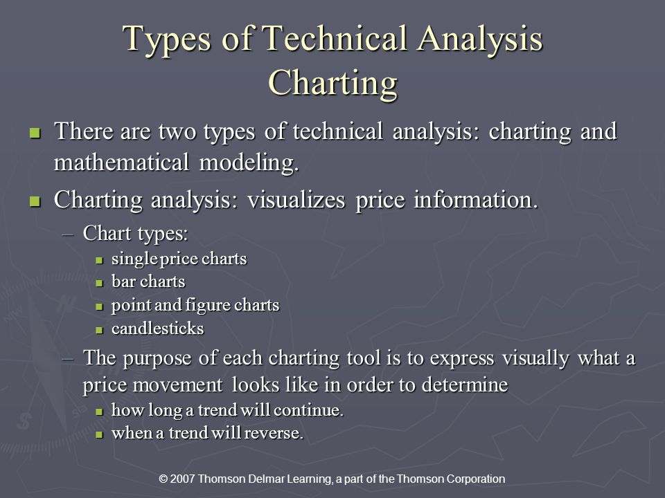 © 2007 Thomson Delmar Learning, a part of the Thomson Corporation Types of Technical Analysis Charting There are two types of technical analysis: charting and mathematical modeling.
