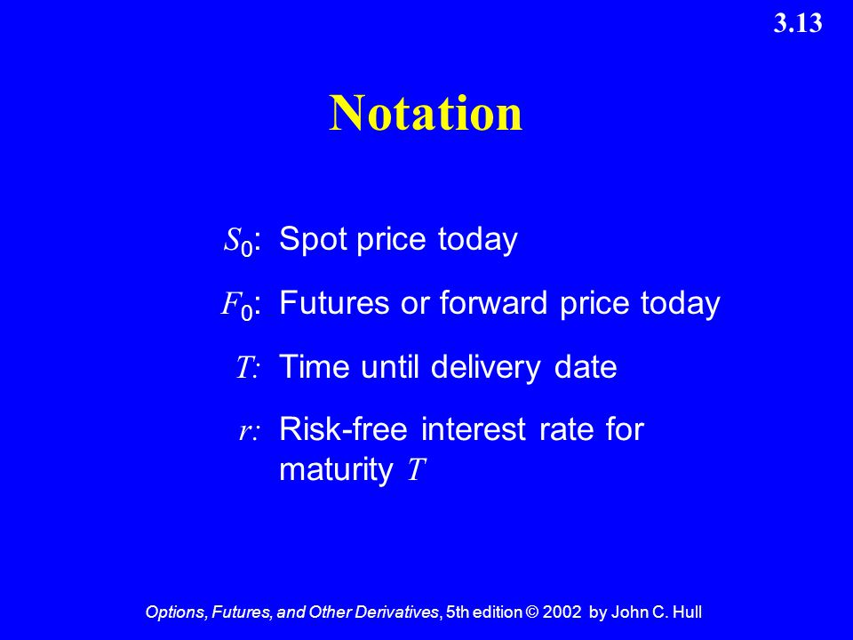 Options, Futures, and Other Derivatives, 5th edition © 2002 by John C. Hull 3.13 Notation S0:S0:Spot price today F0:F0:Futures or forward price today