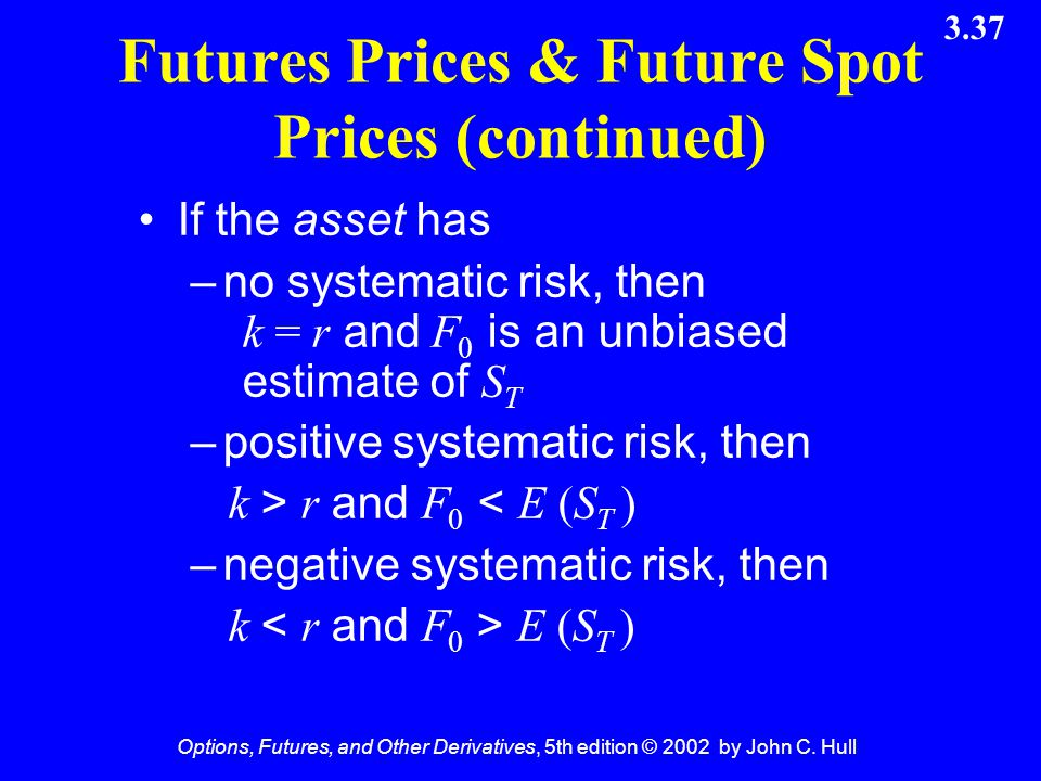 Options, Futures, and Other Derivatives, 5th edition © 2002 by John C. Hull 3.37 Futures Prices & Future Spot Prices (continued) If the asset has –no