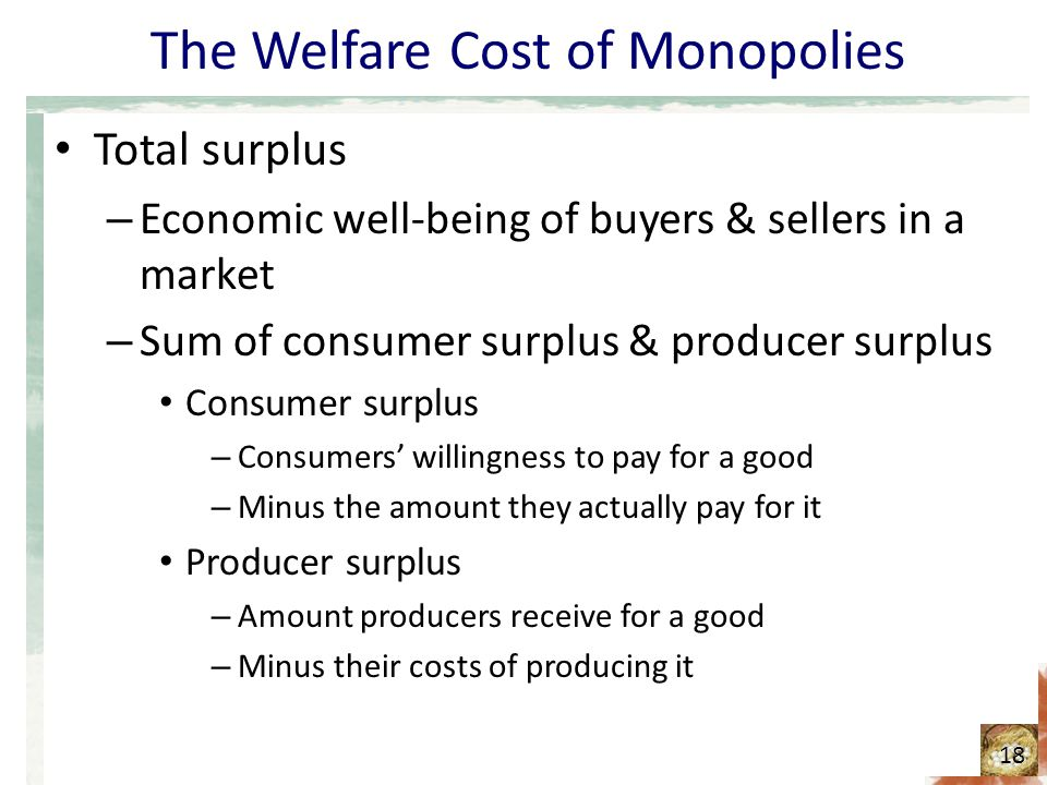 The Welfare Cost of Monopolies Total surplus – Economic well-being of buyers & sellers in a market – Sum of consumer surplus & producer surplus Consum