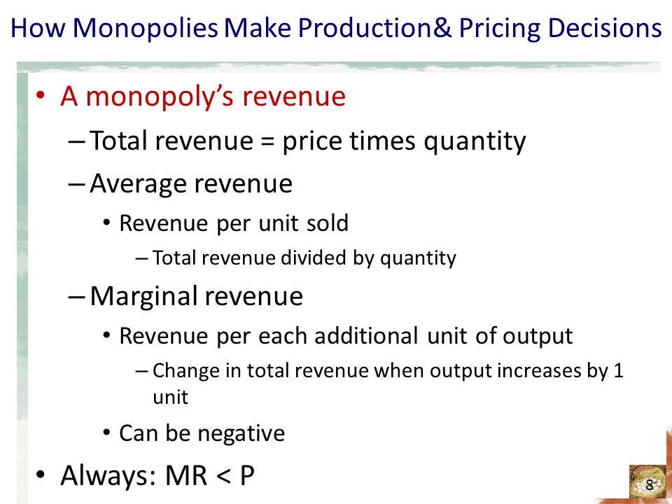 How Monopolies Make Production& Pricing Decisions A monopolys revenue – Total revenue = price times quantity – Average revenue Revenue per unit sold –