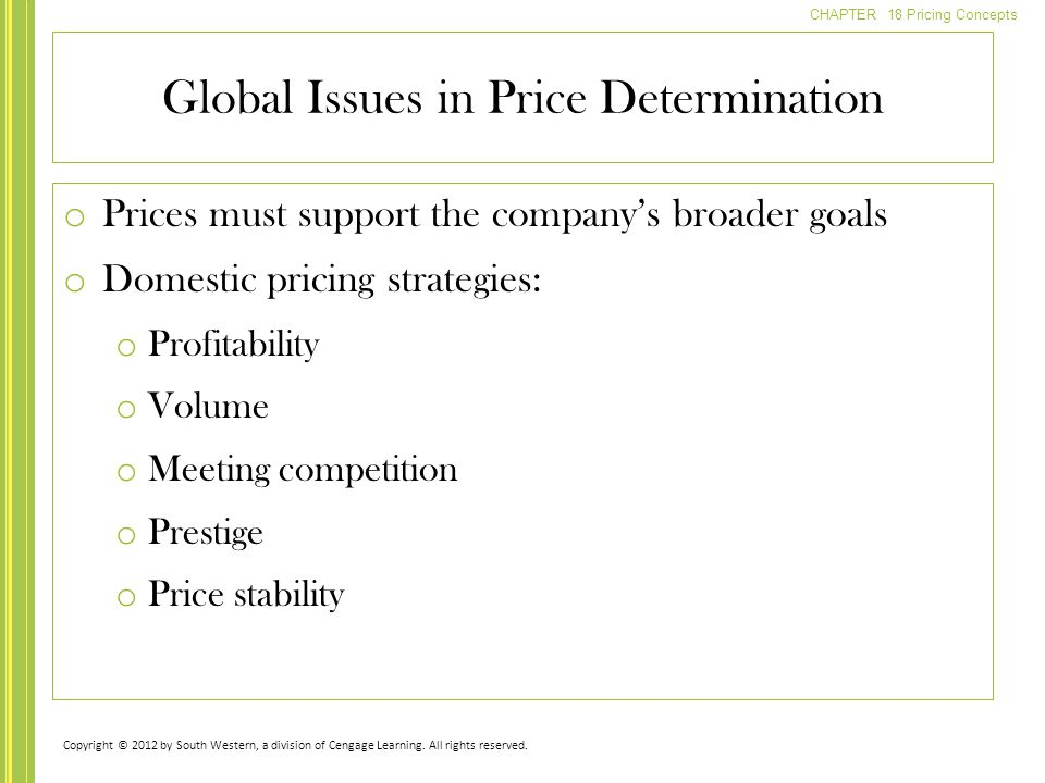 CHAPTER 18 Pricing Concepts o Prices must support the companys broader goals o Domestic pricing strategies: o Profitability o Volume o Meeting competi