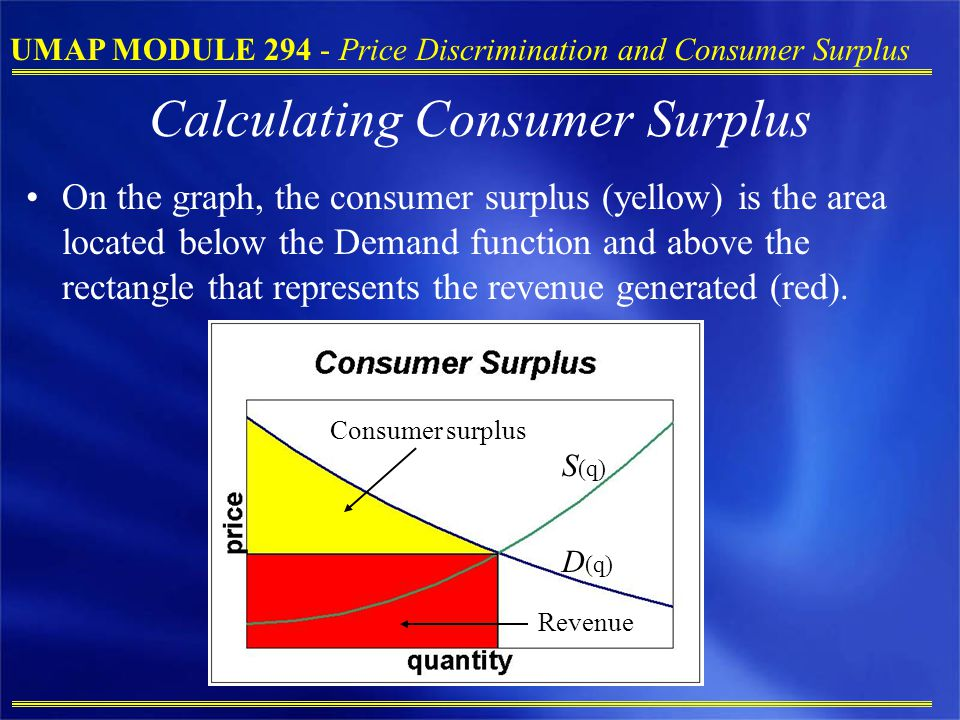 UMAP MODULE 294 - Price Discrimination and Consumer Surplus Calculating Consumer Surplus On the graph, the consumer surplus (yellow) is the area located below the Demand function and above the rectangle that represents the revenue generated (red).