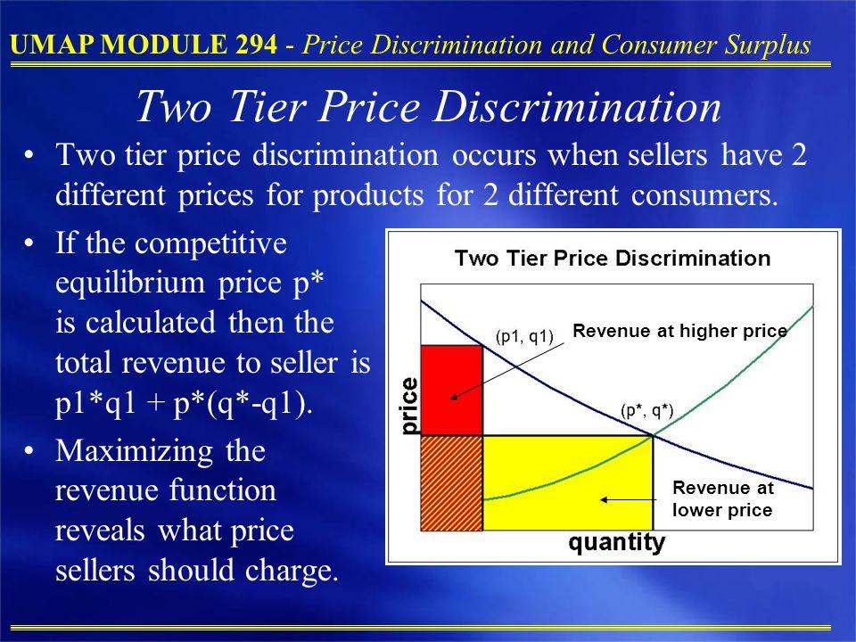 UMAP MODULE 294 - Price Discrimination and Consumer Surplus Two Tier Price Discrimination Two tier price discrimination occurs when sellers have 2 dif