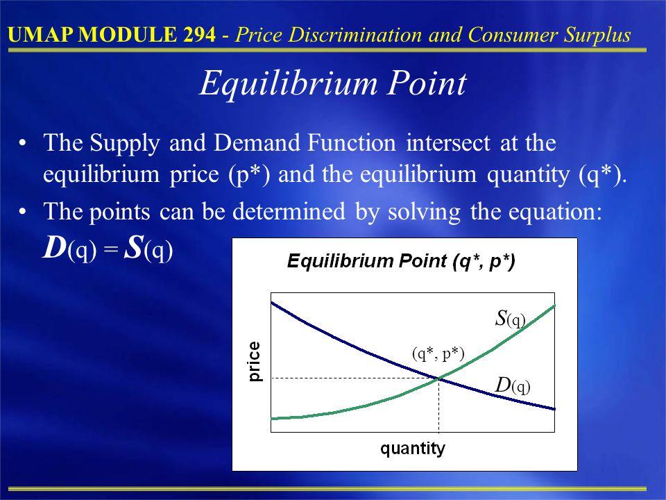 UMAP MODULE 294 - Price Discrimination and Consumer Surplus Equilibrium Point The Supply and Demand Function intersect at the equilibrium price (p*) a