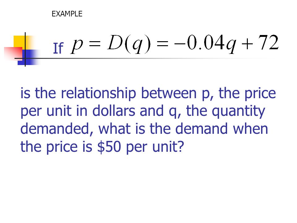 If is the relationship between p, the price per unit in dollars and q, the quantity demanded, what is the demand when the price is $50 per unit? EXAMP