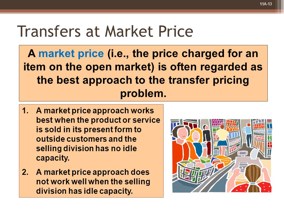 11A-13 Transfers at Market Price A market price (i.e., the price charged for an item on the open market) is often regarded as the best approach to the