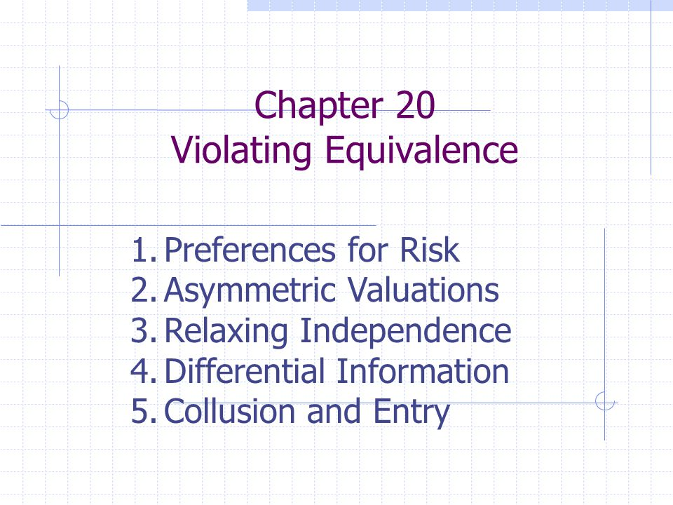 Chapter 20 Violating Equivalence 1.Preferences for Risk 2.Asymmetric Valuations 3.Relaxing Independence 4.Differential Information 5.Collusion and Ent