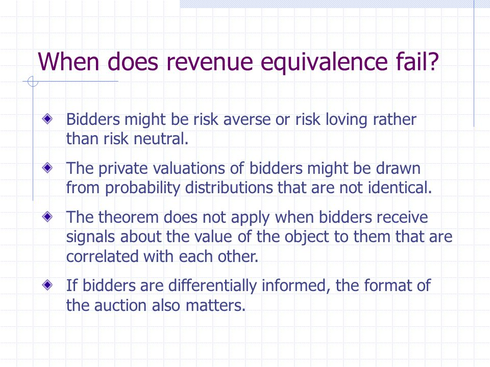 When does revenue equivalence fail.
