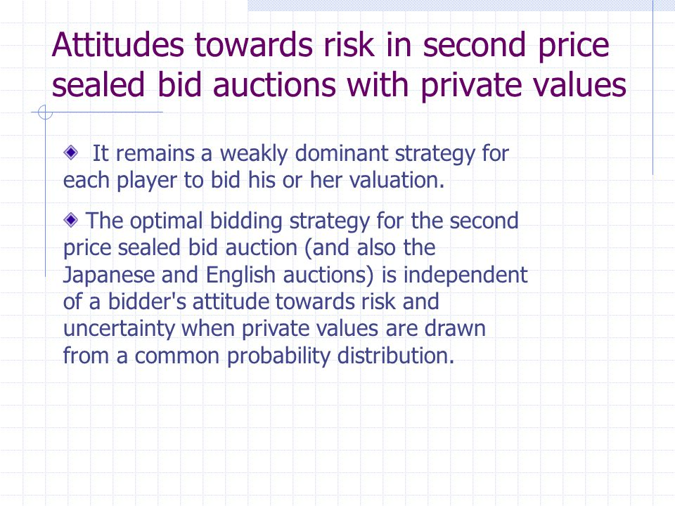 Attitudes towards risk in second price sealed bid auctions with private values It remains a weakly dominant strategy for each player to bid his or her valuation.