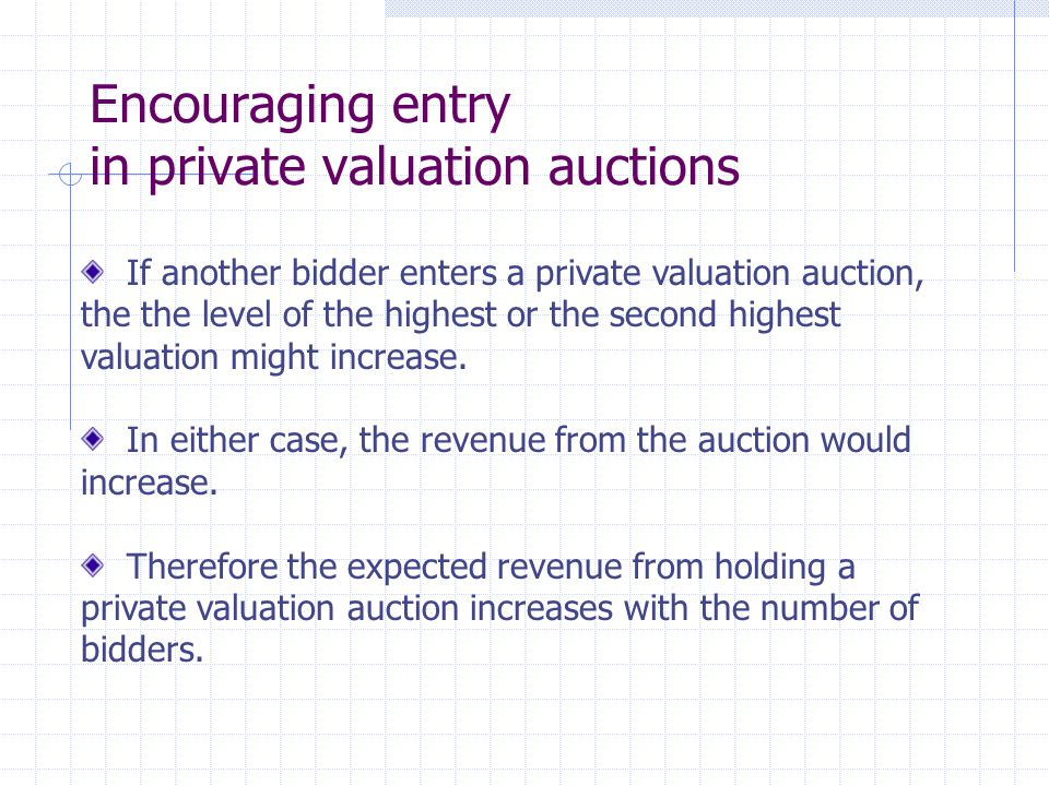 Encouraging entry in private valuation auctions If another bidder enters a private valuation auction, the the level of the highest or the second highe