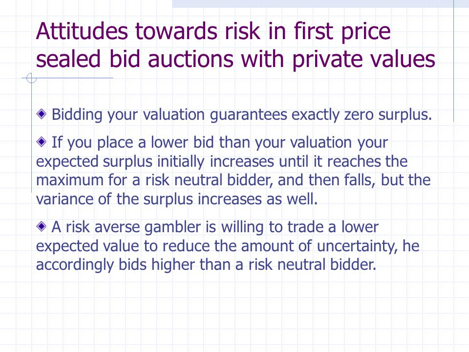 Comparing first and second price sealed bid auctions Revenue generated by a second price auction is independent of the bidders preferences over uncertainty, since bidding is unaffected.